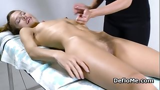 Hairy cutie with puffy puffies enjoys cherry massage