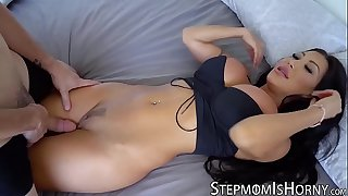 Oriental vixen August Taylor bouncing on stepson dick