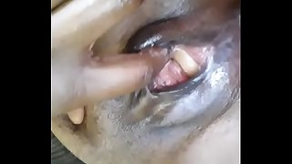 Egg stuck in super wet ebony cunt