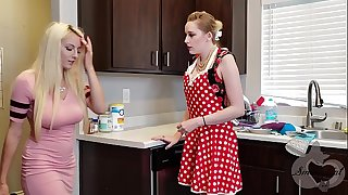 Mother helps her Daughter Stir on from Ex - Realistic Strapon Scene