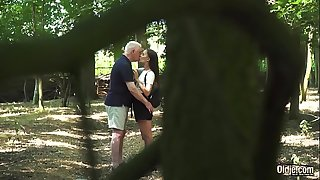 Russian Teen Romantic Sex with old guy horny and fuckable