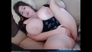 BBW with huge tits bating in solo webcam show
